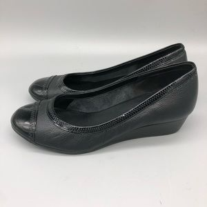 Cole Haan leather patent black cap toe low wedges